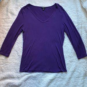 Cupio purple 3/4 sleeve stretchy top- size L